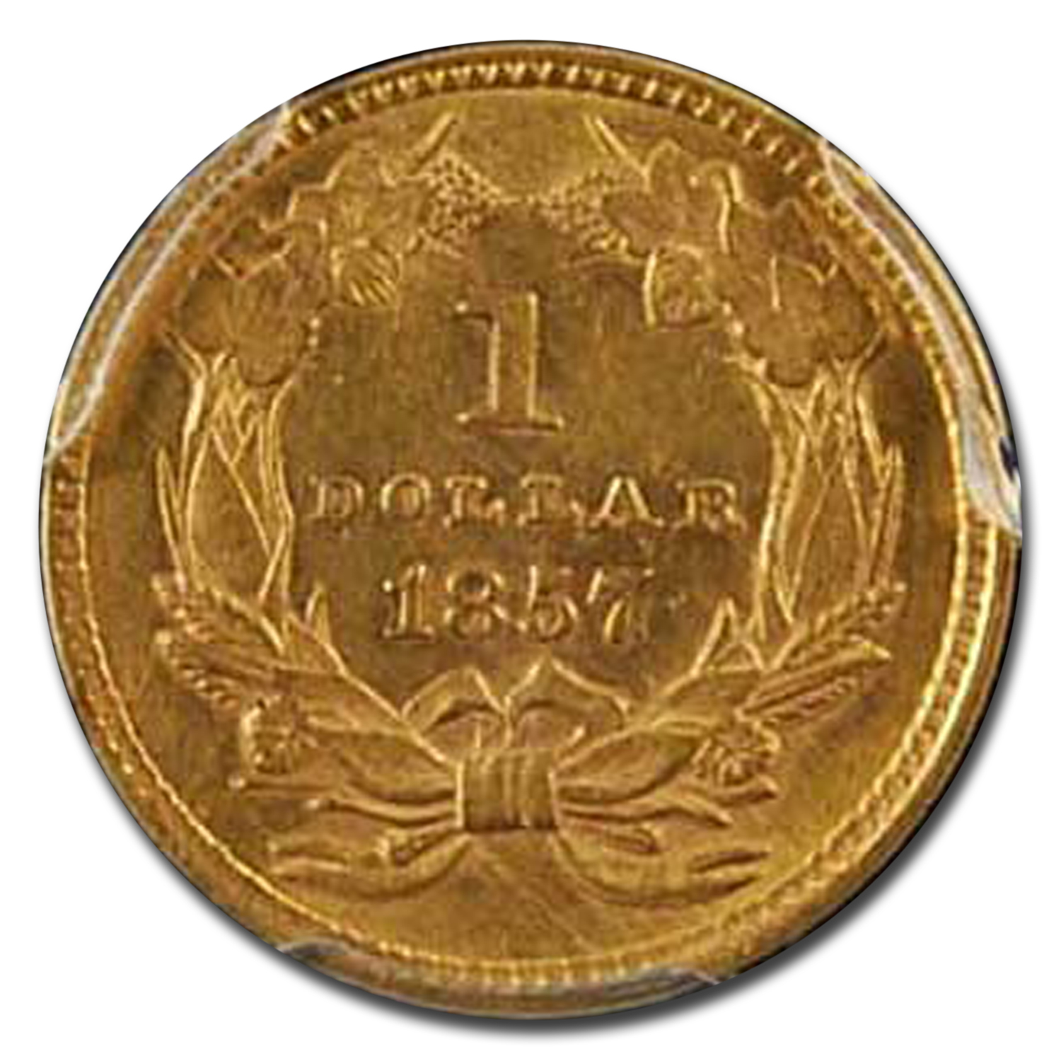 1857 $1 Indian Head Gold AU-58 PCGS