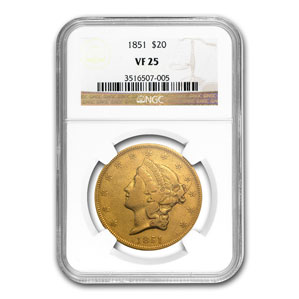 1851 $20 Liberty Gold Double Eagle VF-25 NGC