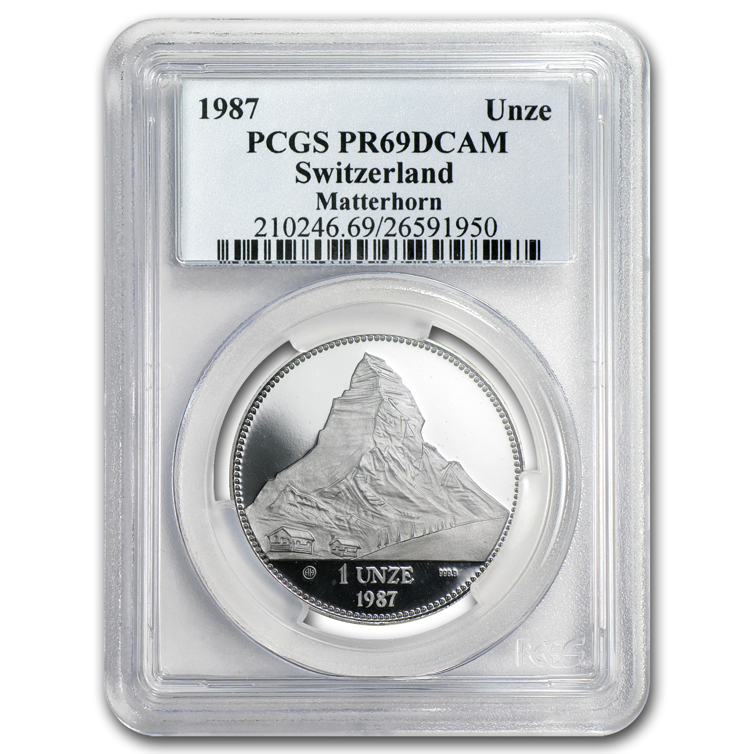 Switzerland 1987 1 oz Proof Silver Piedfort PCGS PR-69 DC