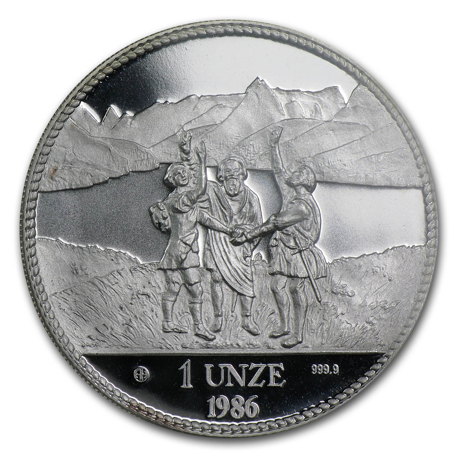 Switzerland 1986 1 oz Proof Silver Piedfort    PCGS PR-69 DC