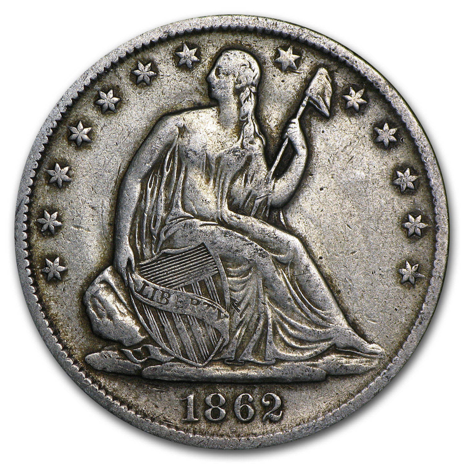 1862-S Liberty Seated Half Dollar VG