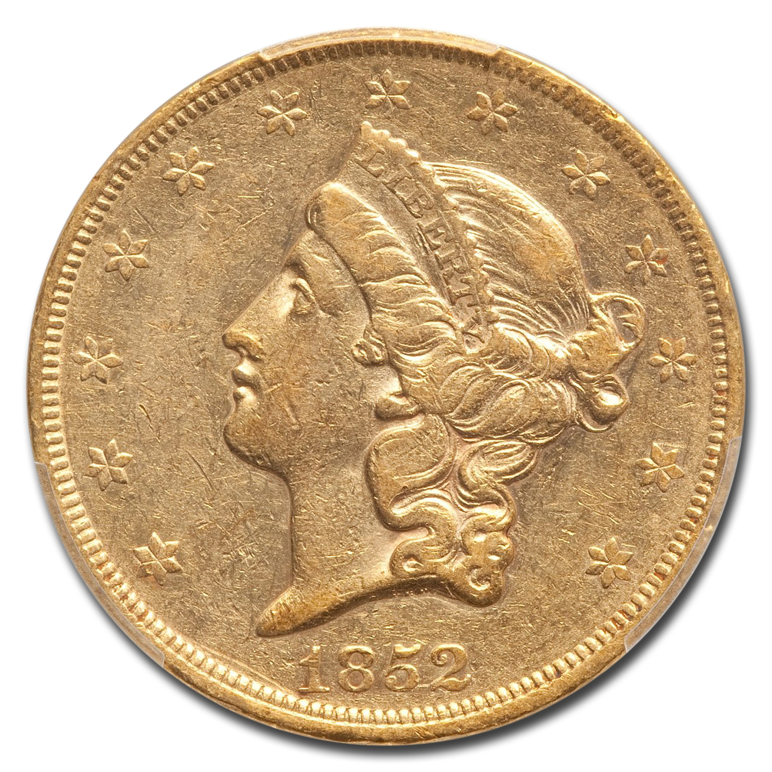 1852 $20 Liberty Gold Double Eagle AU-50 PCGS
