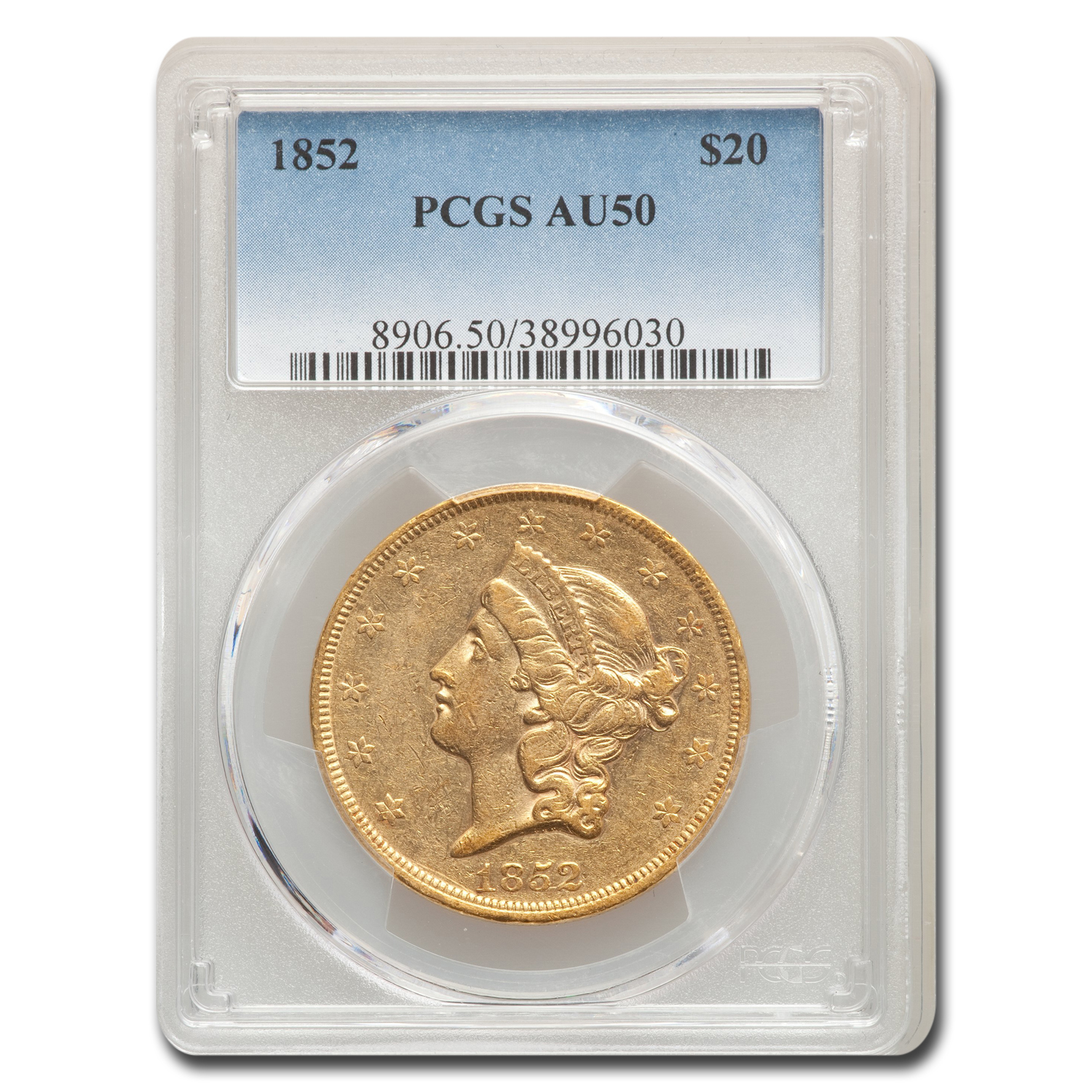 1852 $20 Gold Liberty Double Eagle AU-50 PCGS
