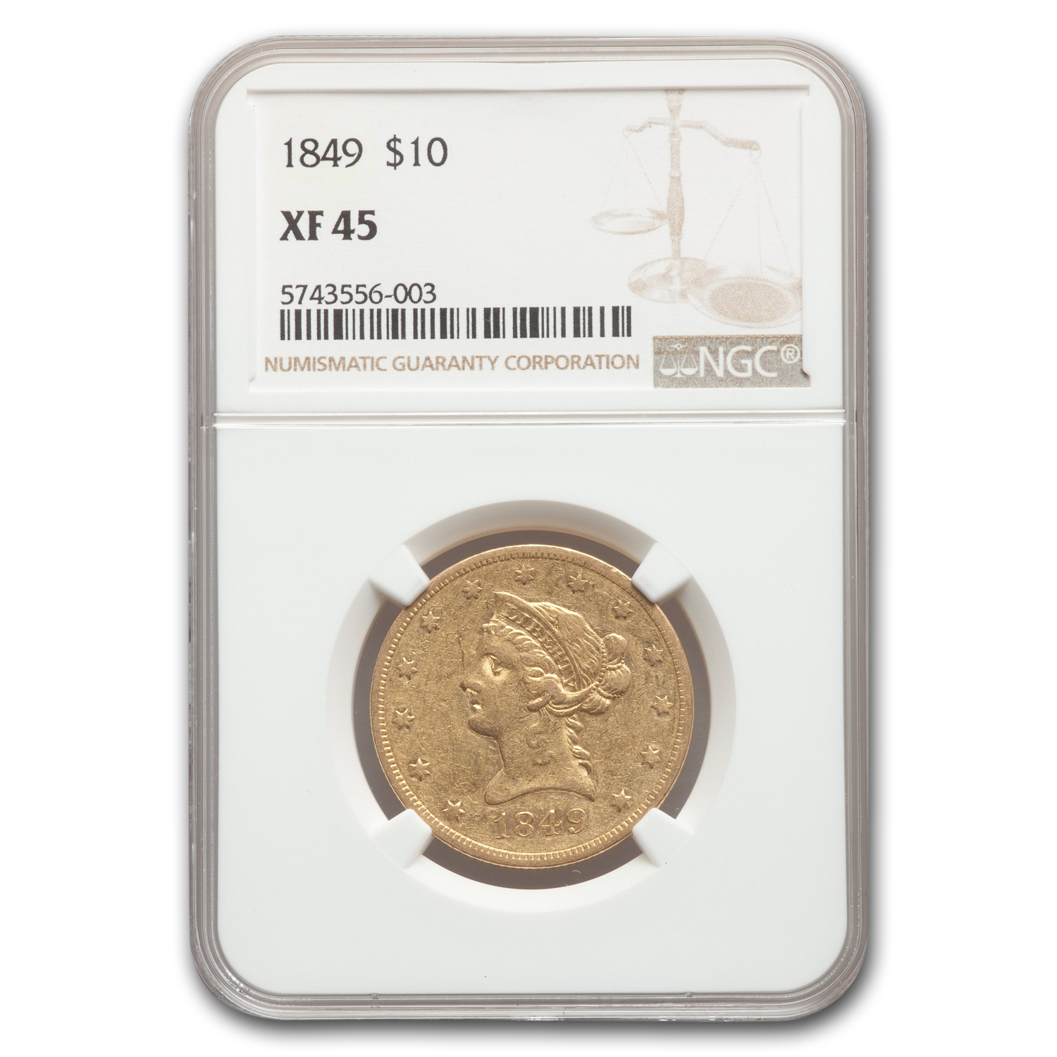 1849 $10 Liberty Gold Eagle XF-45 NGC