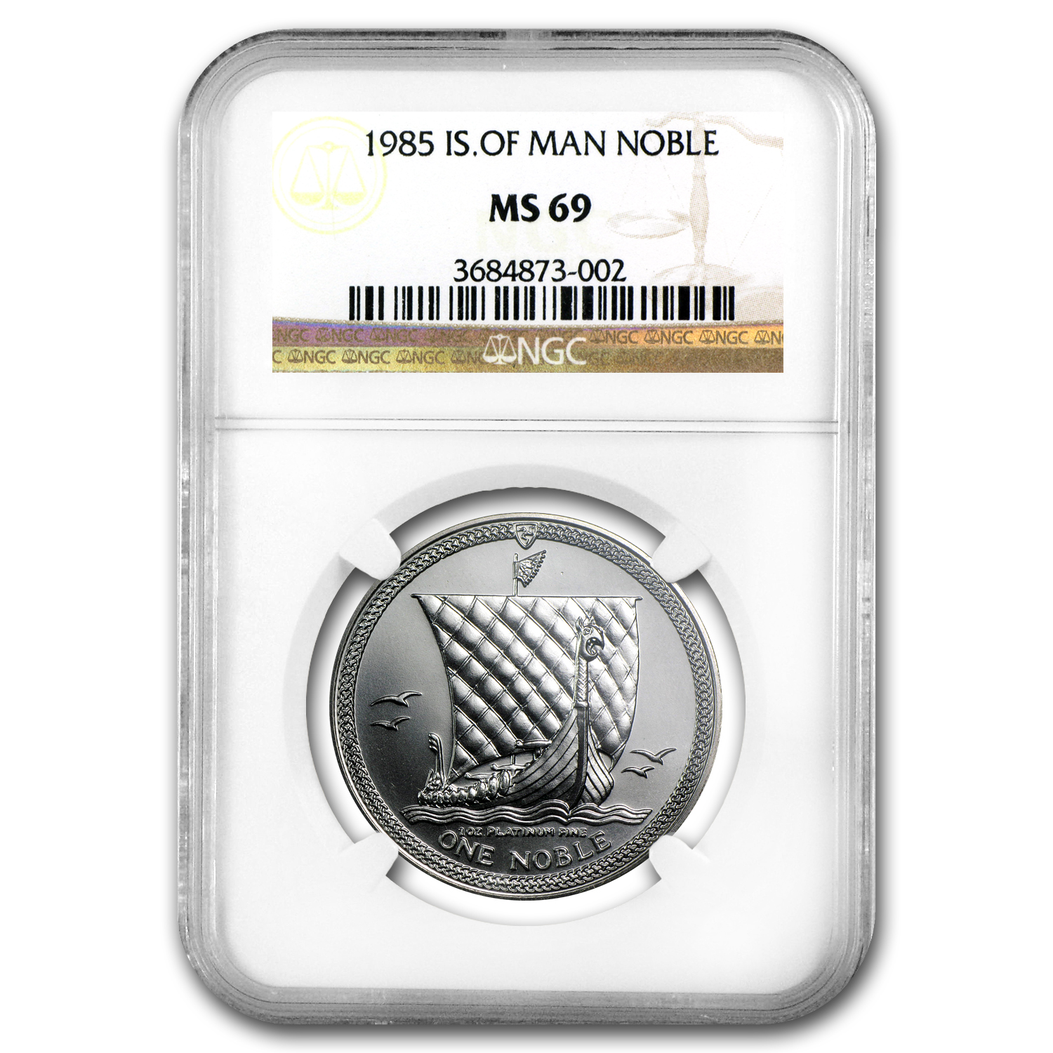 1985 Isle of Man 1 oz Platinum Noble MS-69 NGC