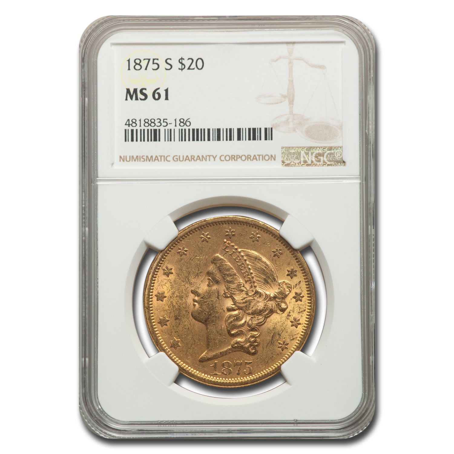 1875-S $20 Liberty Gold Double Eagle MS-61 NGC