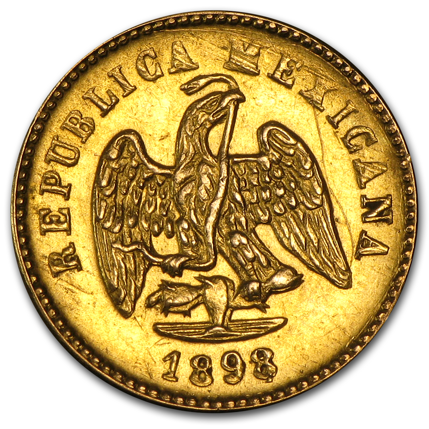 1898/7-Mo Mexico Gold Peso AU