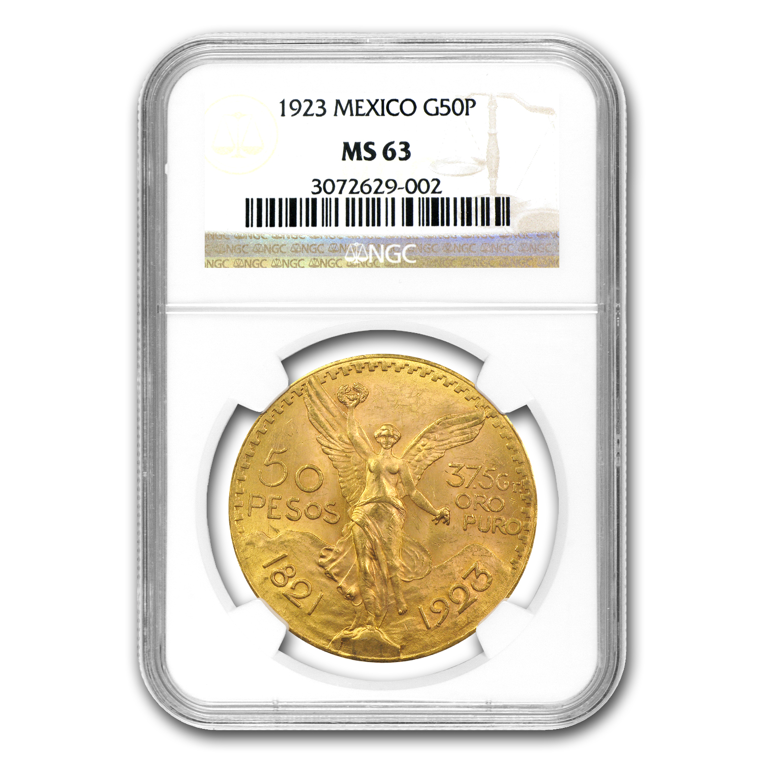 Mexico 1923 50 Pesos Gold Coin - MS-63 NGC