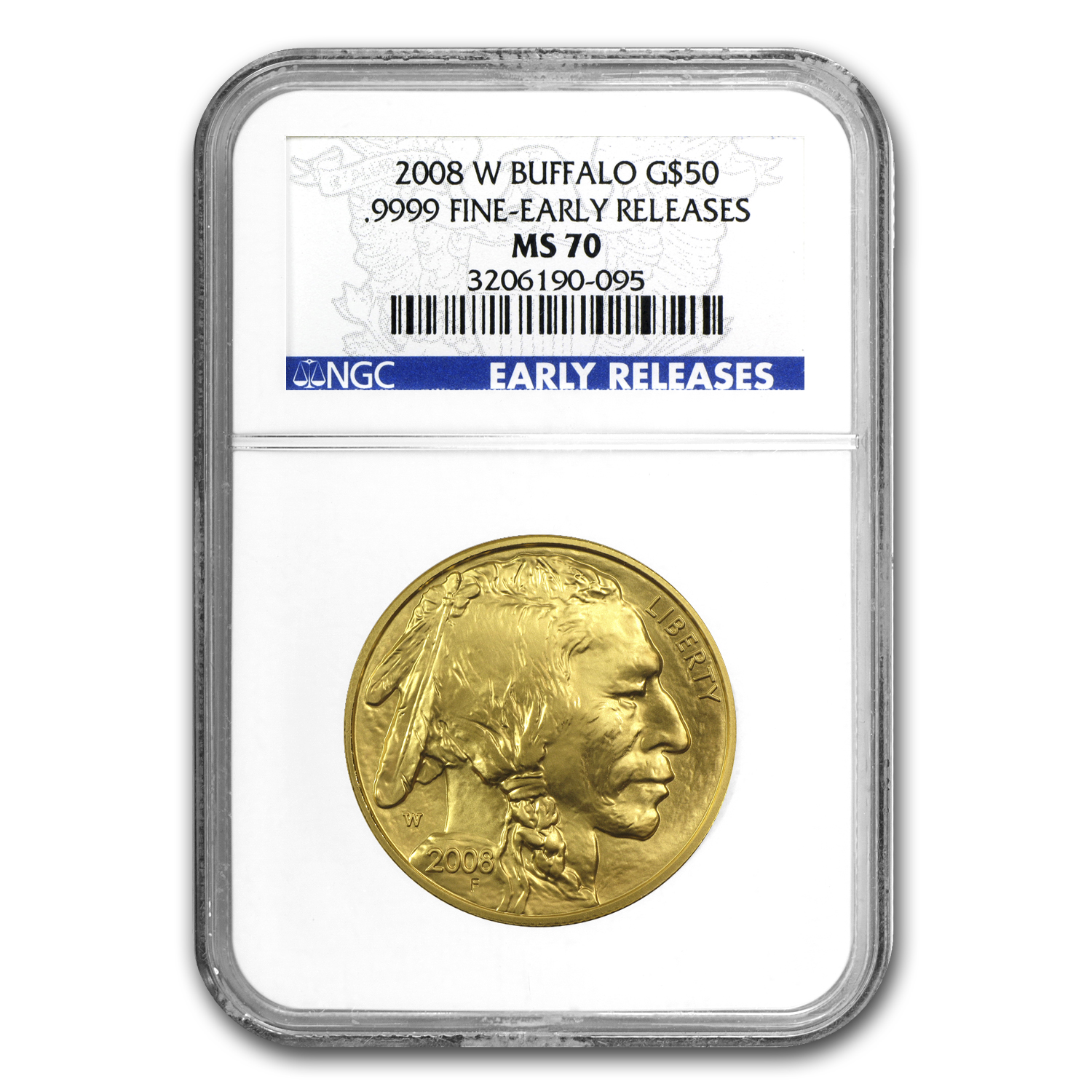 2008-W 1 oz Gold Buffalo MS-70 NGC (ER, Registry Set)