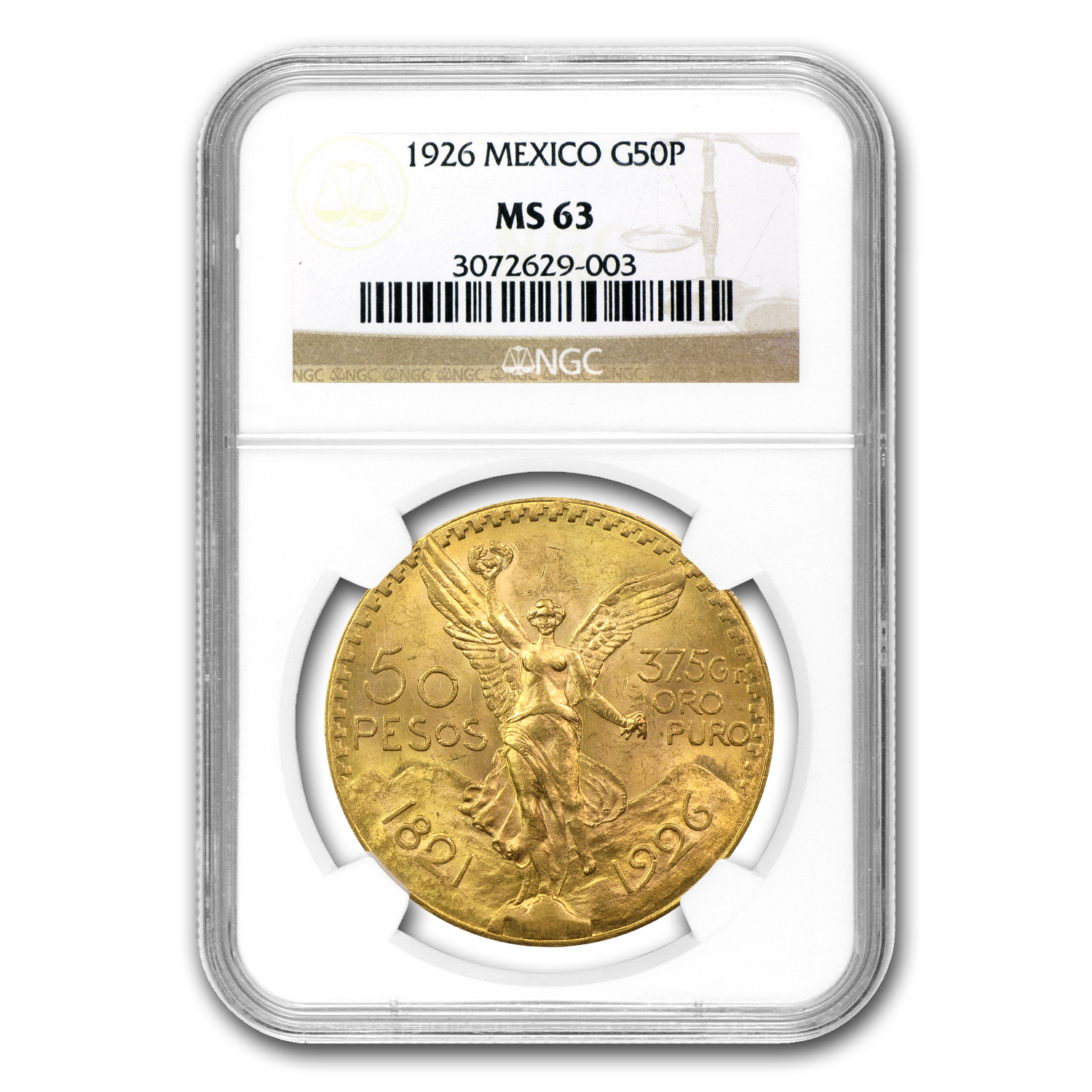 Mexico 1926 50 Pesos Gold Coin - MS-63 NGC