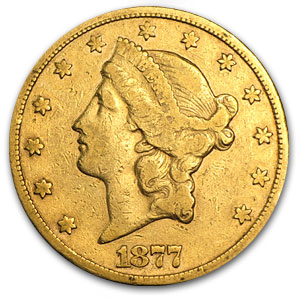 1877-CC $20 Liberty Gold Double Eagle VF