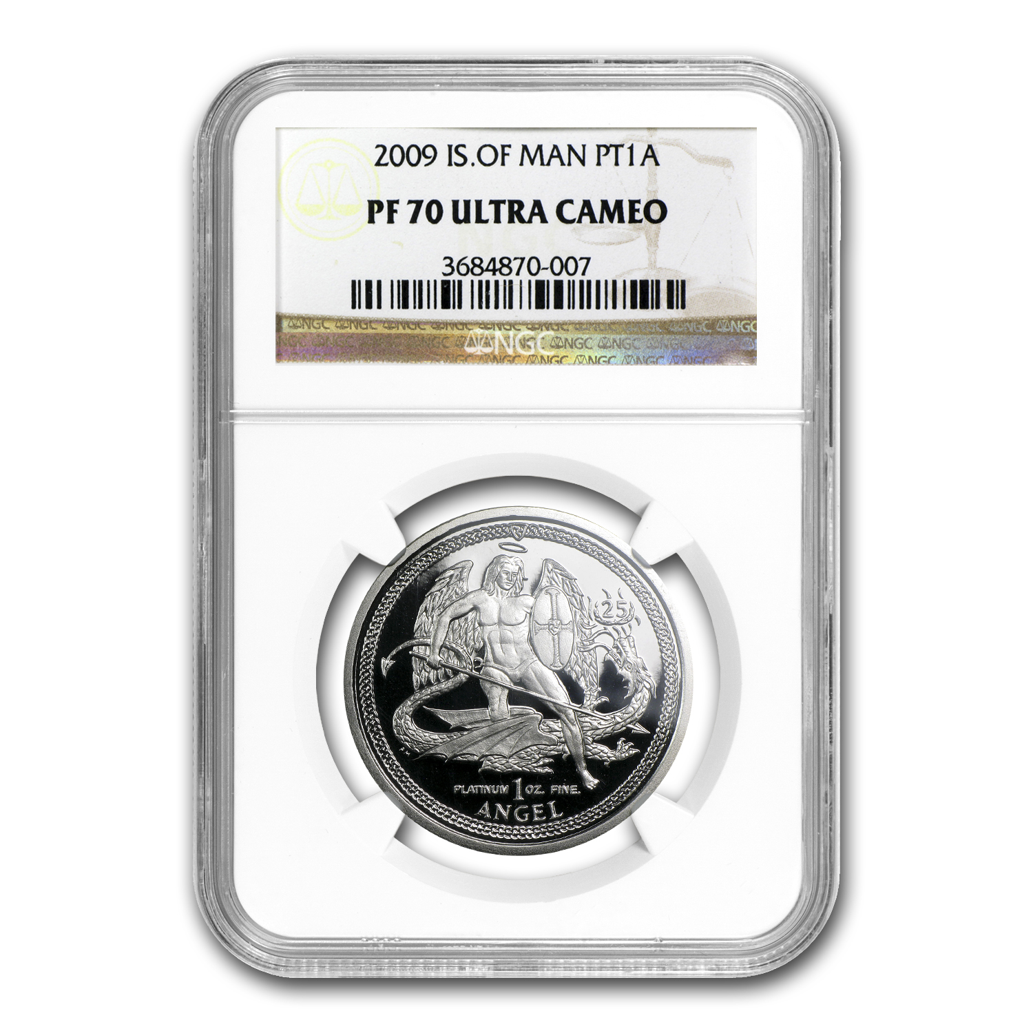 2009 1 oz Isle of Man Platinum Angel (PF-70 UCAM NGC)