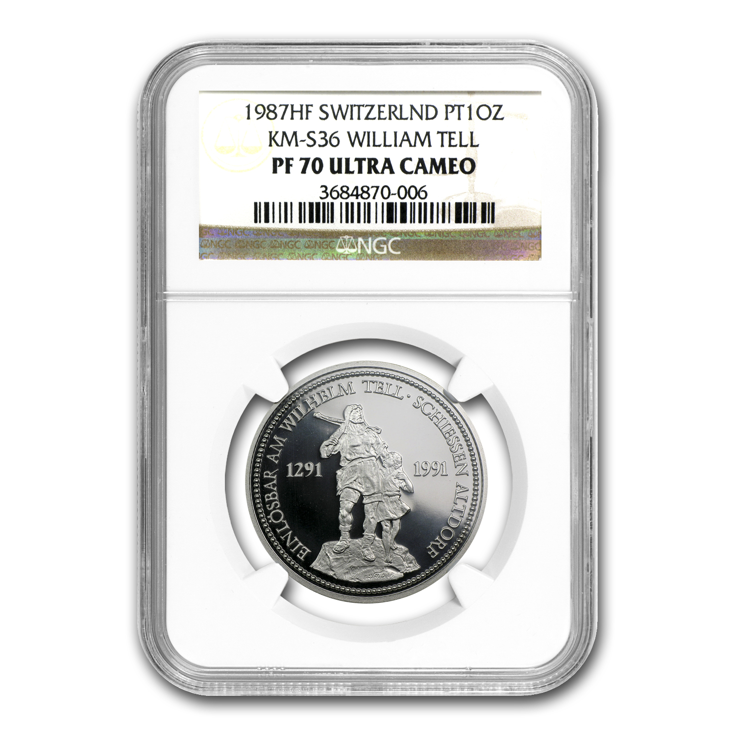 1987 Switzerland 1 oz Proof Platinum William Tell PF-70 NGC
