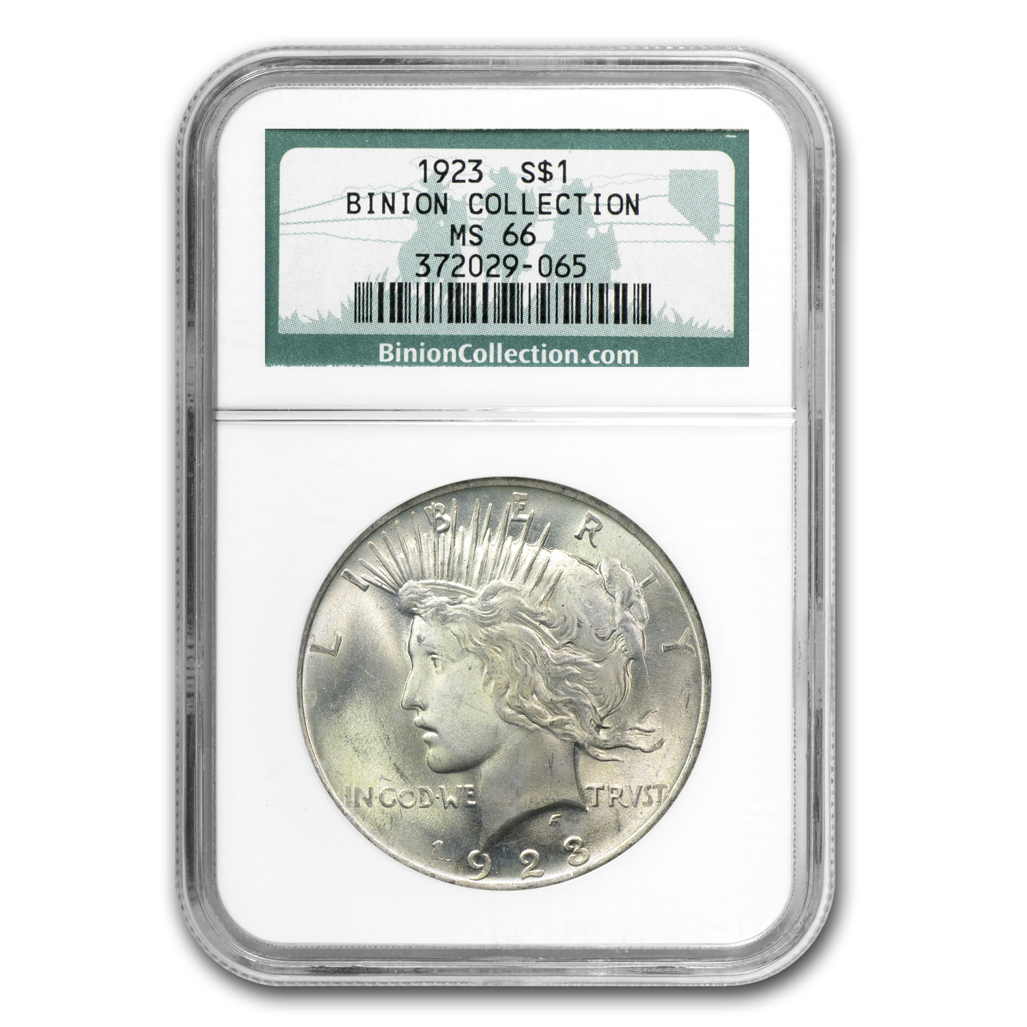 1923 Peace Dollar MS-66 NGC - Binion Collection