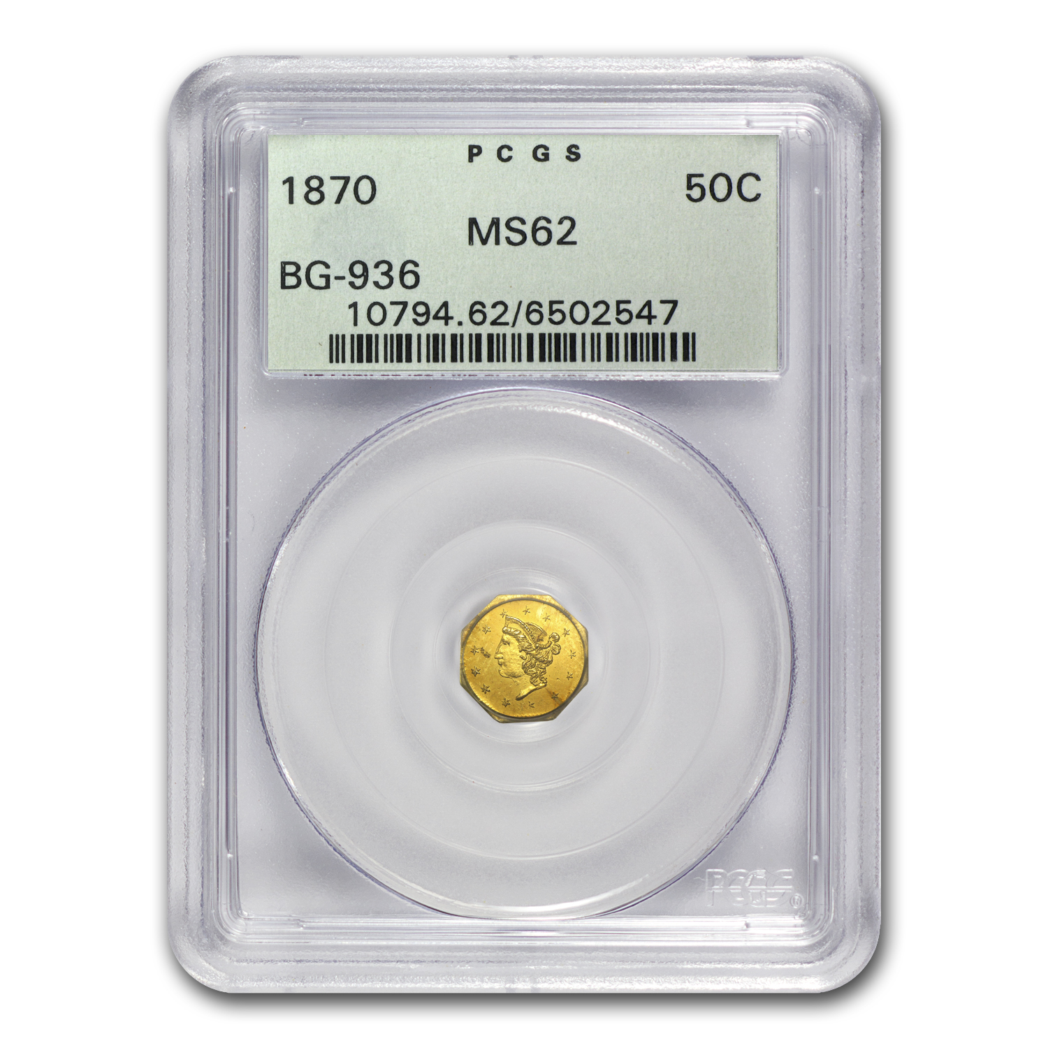 1870 BG-936 Liberty Octagonal 50 Cent Gold MS-62 PCGS