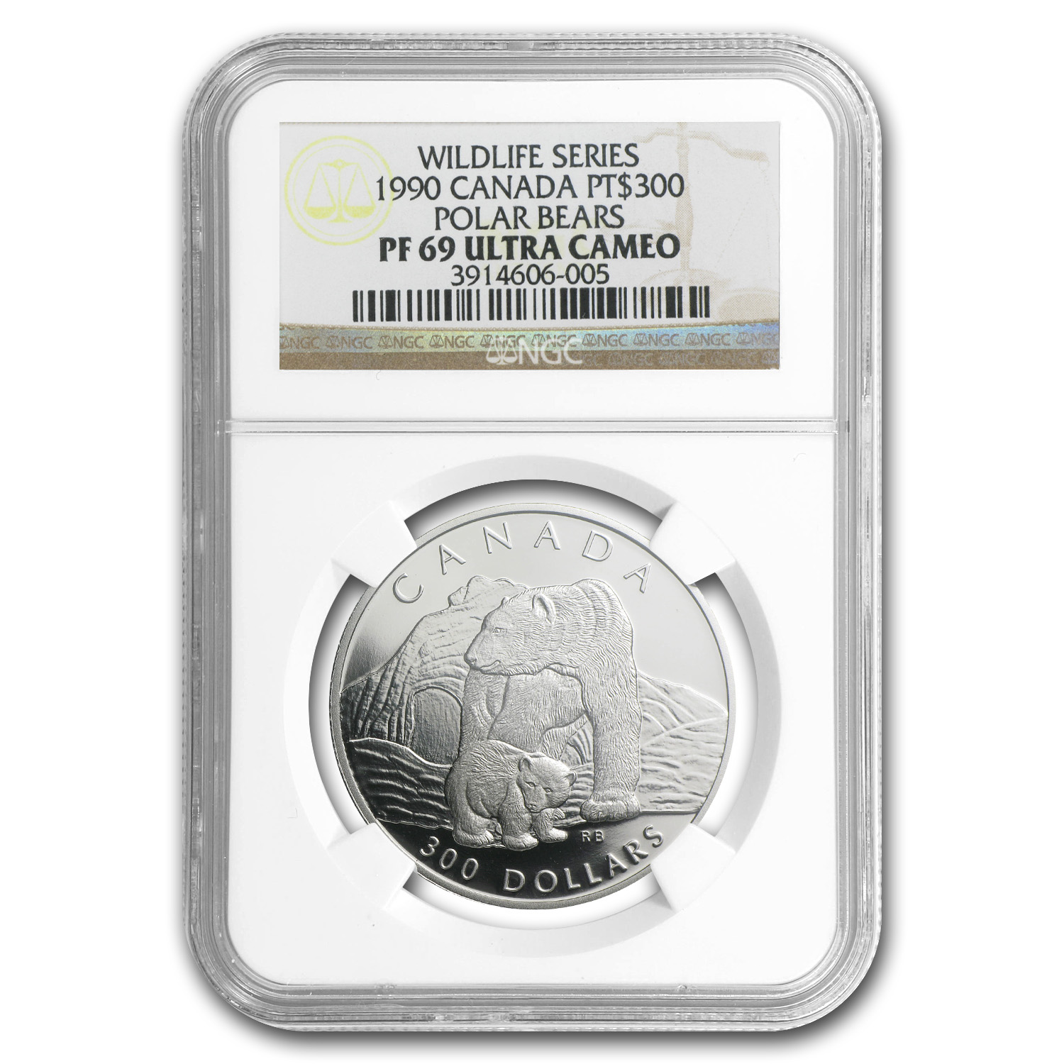 1990 1 oz Canadian Platinum Polar Bear (PF-69 UCAM NGC)