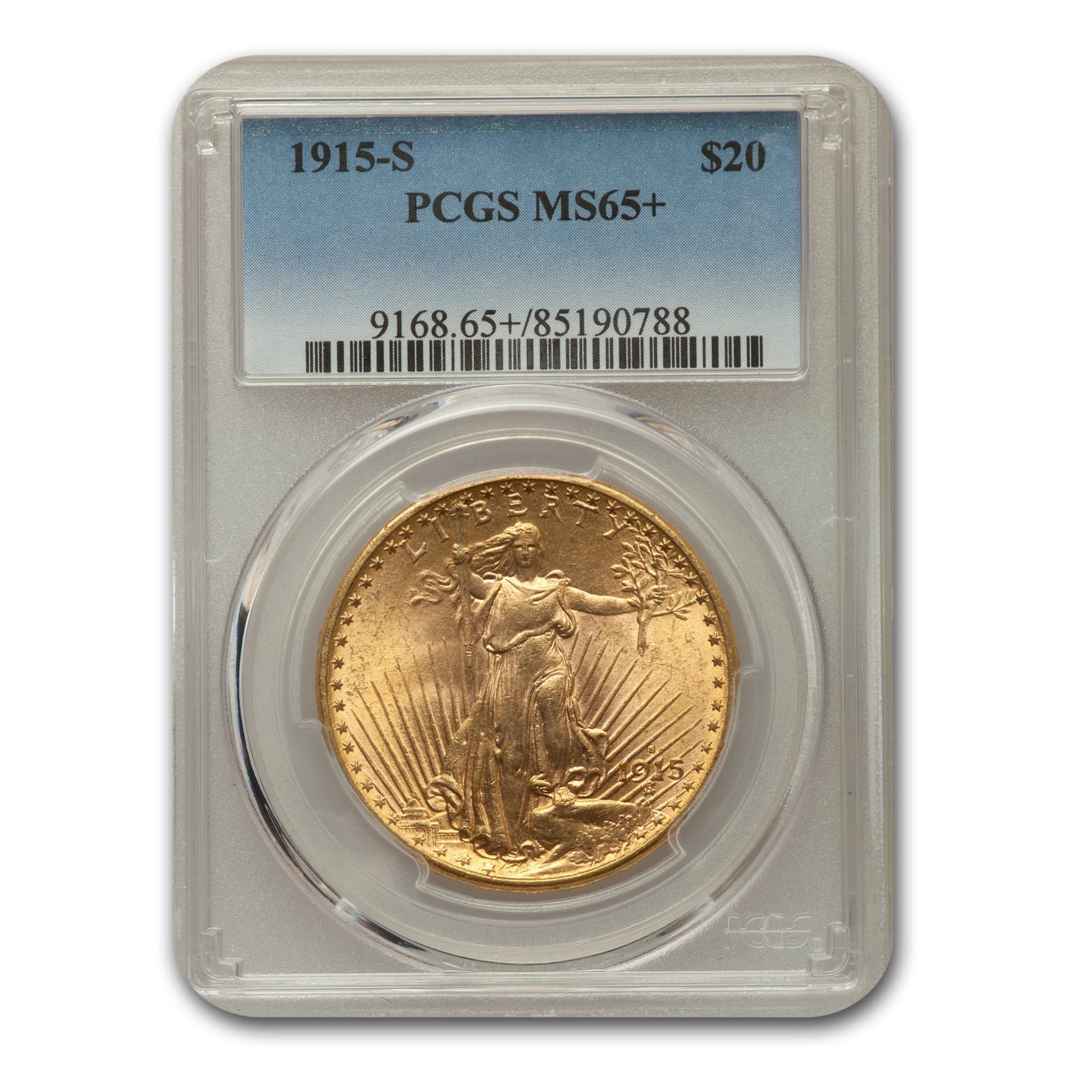 1915-S $20 Saint-Gaudens Gold Double Eagle MS-65+ PCGS