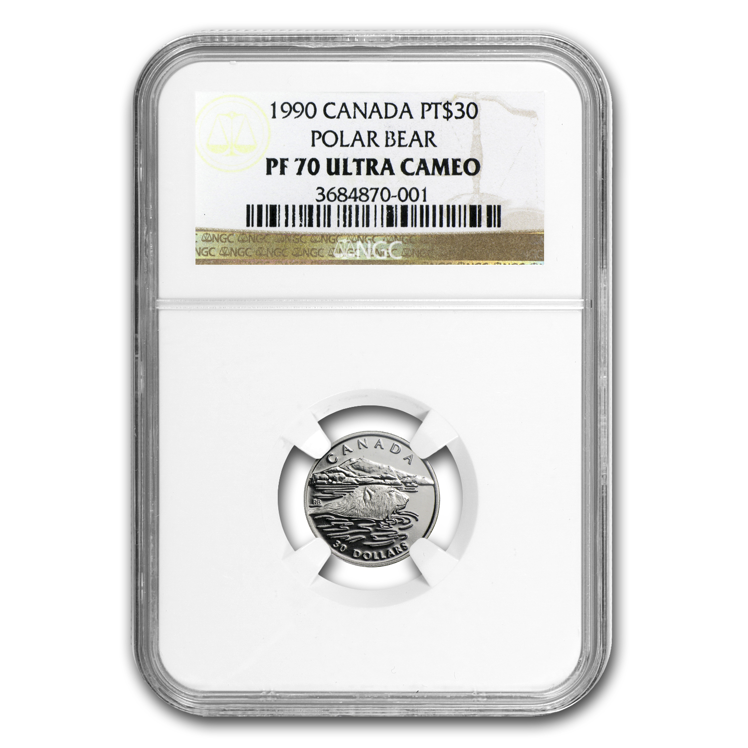 1990 1/10 oz Proof Platinum Canadian Polar Bear PF-70 NGC