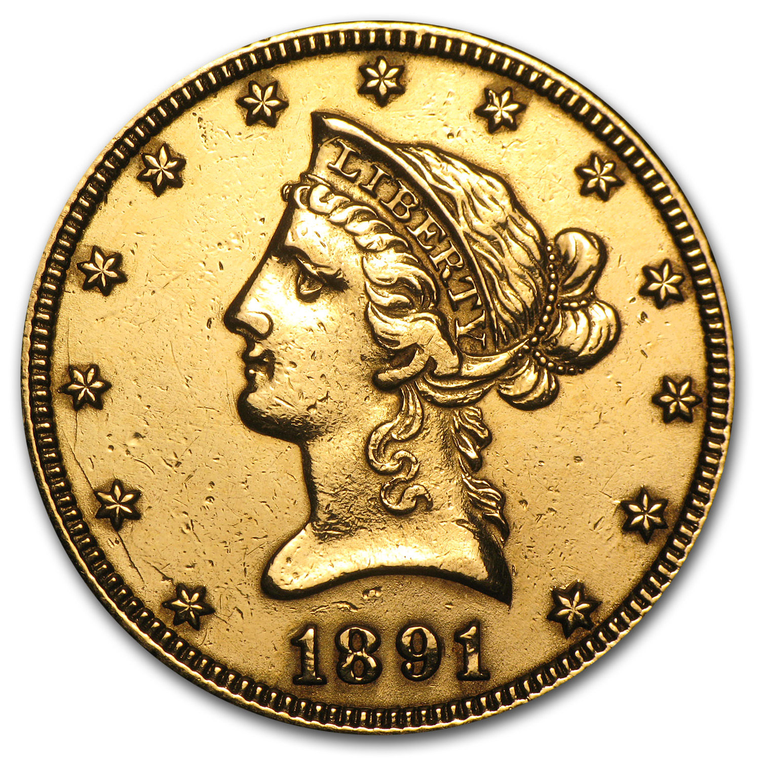 1891-CC $10 Liberty Gold Eagle AU Details (Scratched)