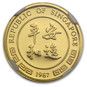 1987 Singapore 1/10 oz Proof Gold 10 Singold Rabbit PF-70 NGC