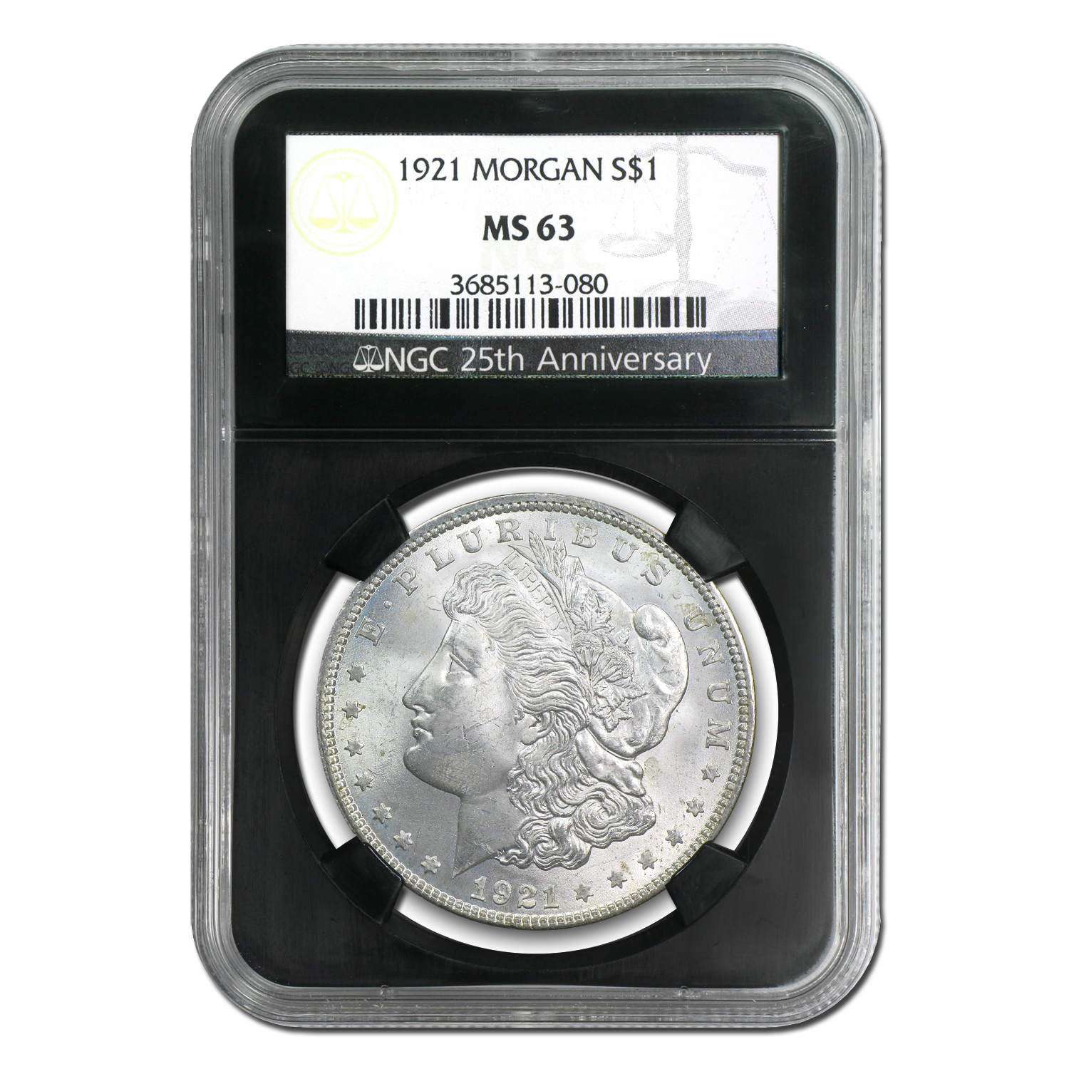 1921 Morgan Dollar - MS-63 NGC Black Holder - 25th Anniversary