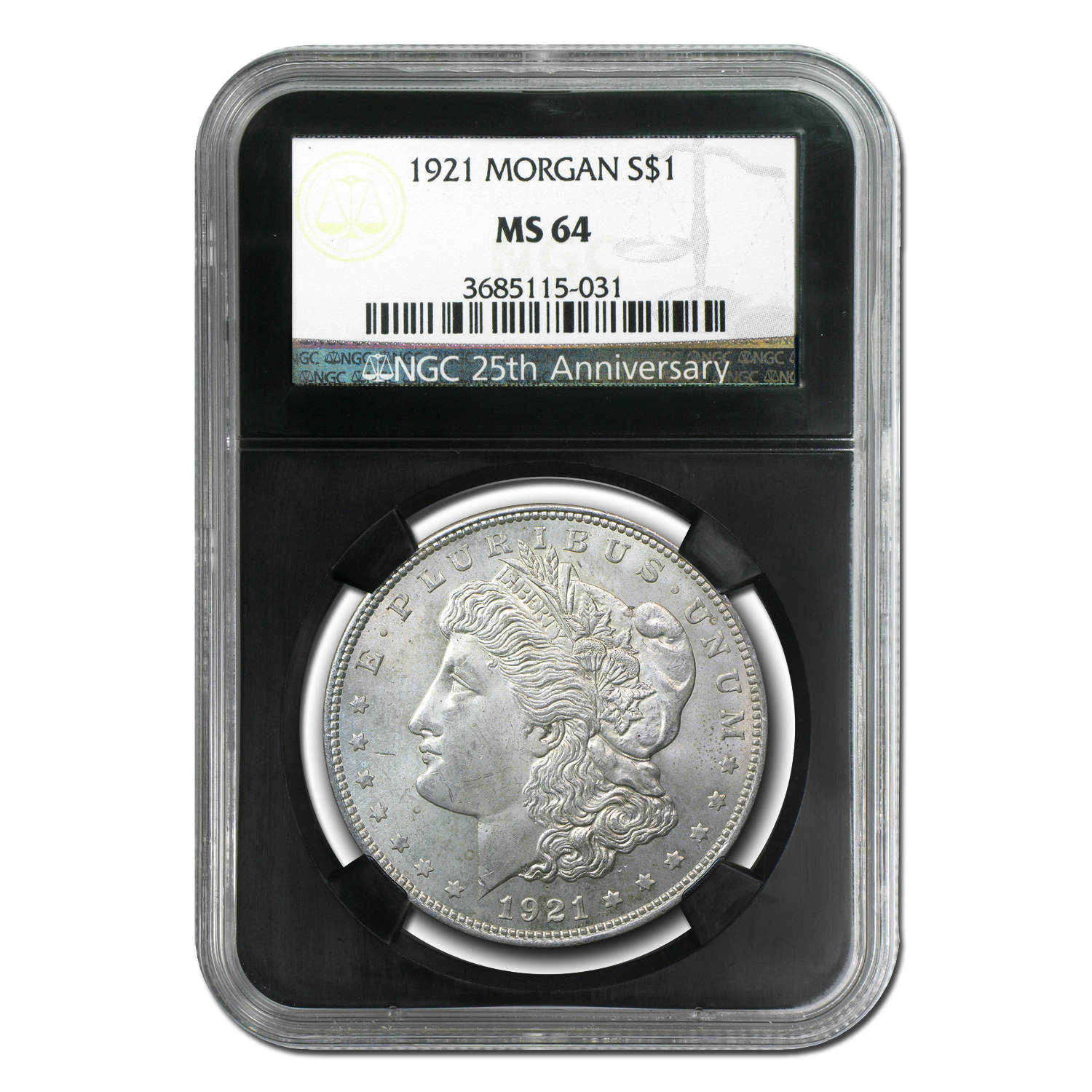 1921 Morgan Dollar - MS-64 NGC Black Holder - 25th Anniversary