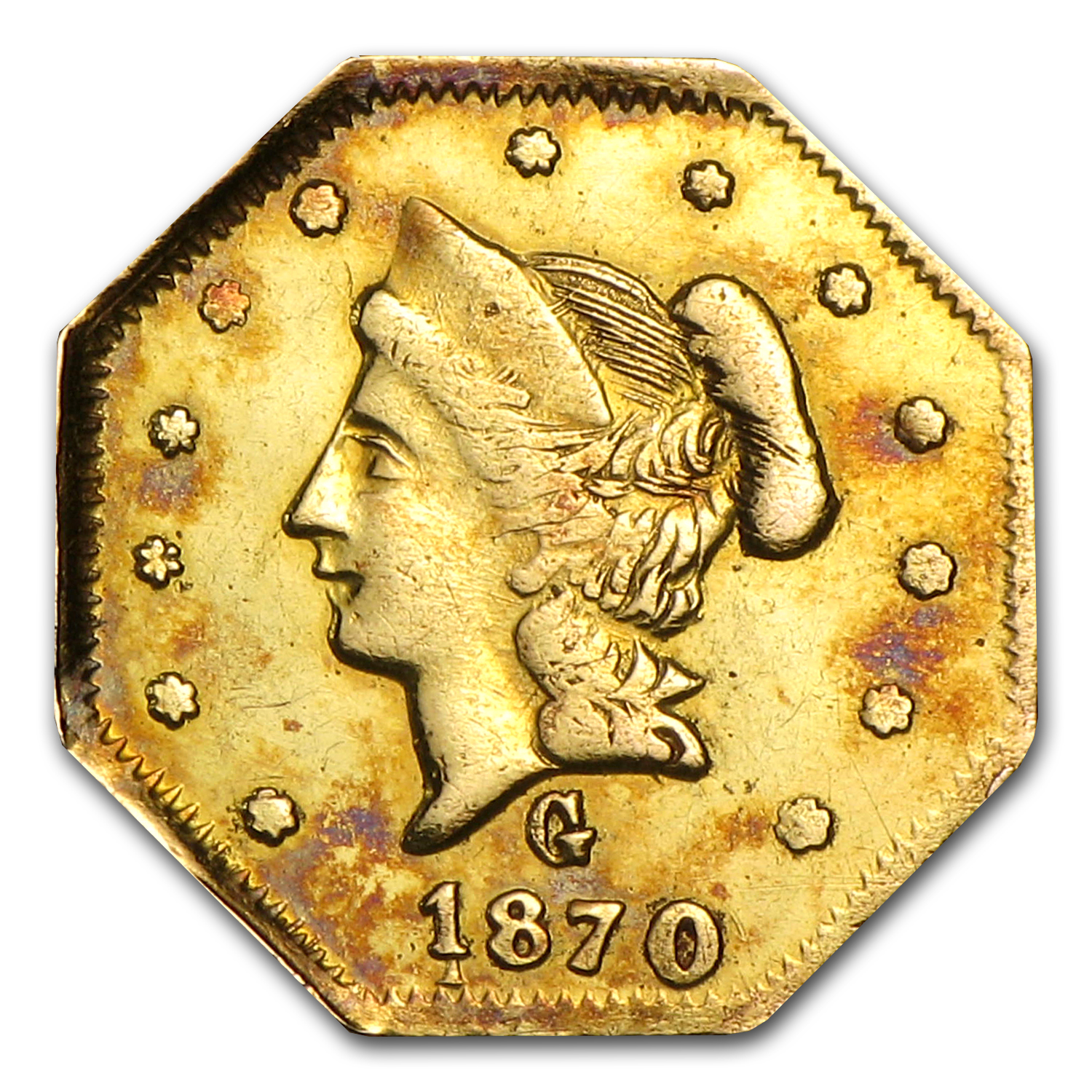 1870 Liberty Octagonal 50 Cent Gold Unc Details (BG-922, Cleaned)