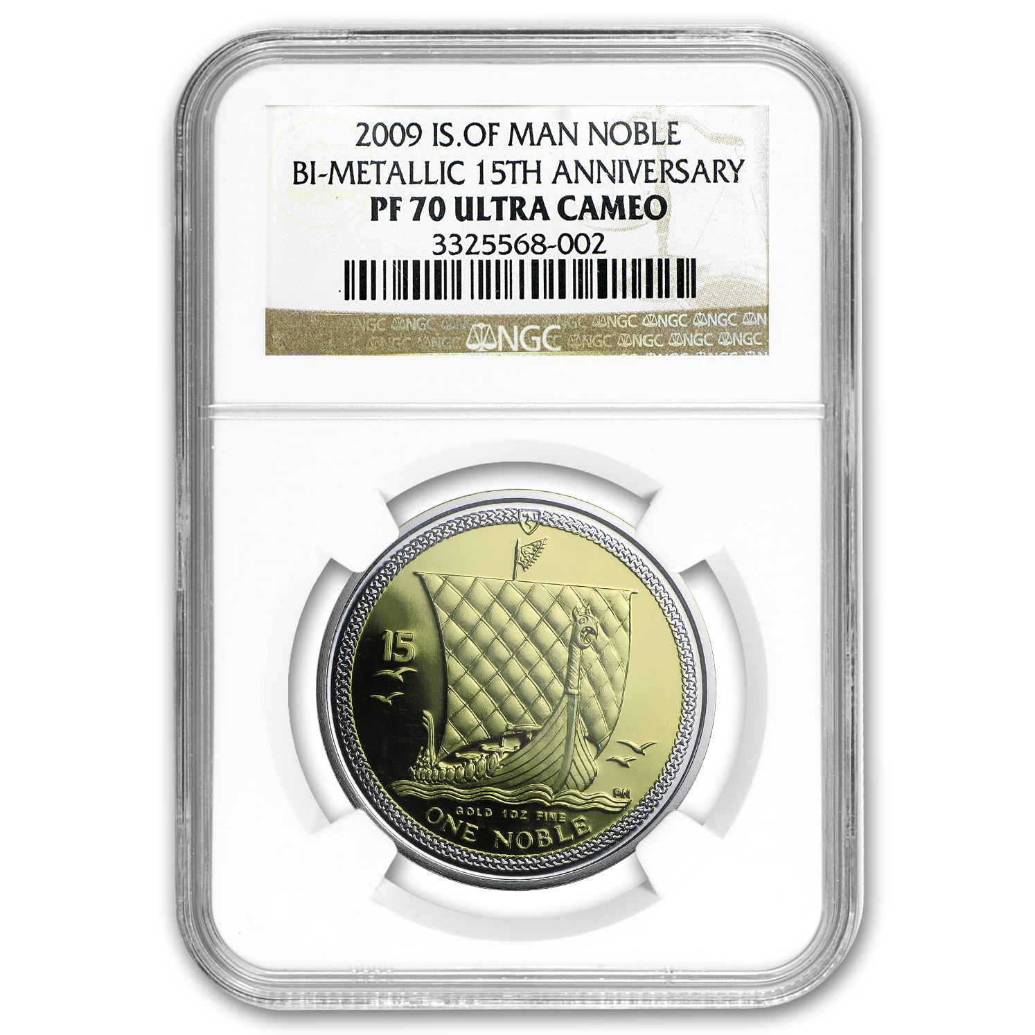 2009 Isle of Man Bi-Metallic Noble PF-70 NGC (15th Anniv)