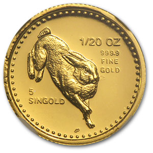 1987 Singapore 1/20 oz Proof Gold 5 Singold Rabbit PF-69 NGC