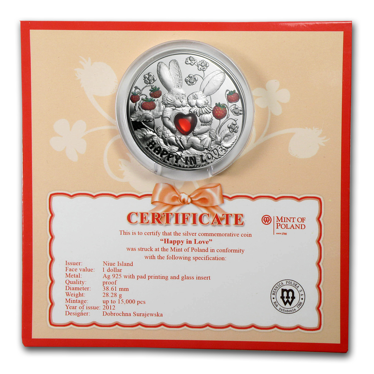 Niue 2012 Proof Silver $1 Happy in Love