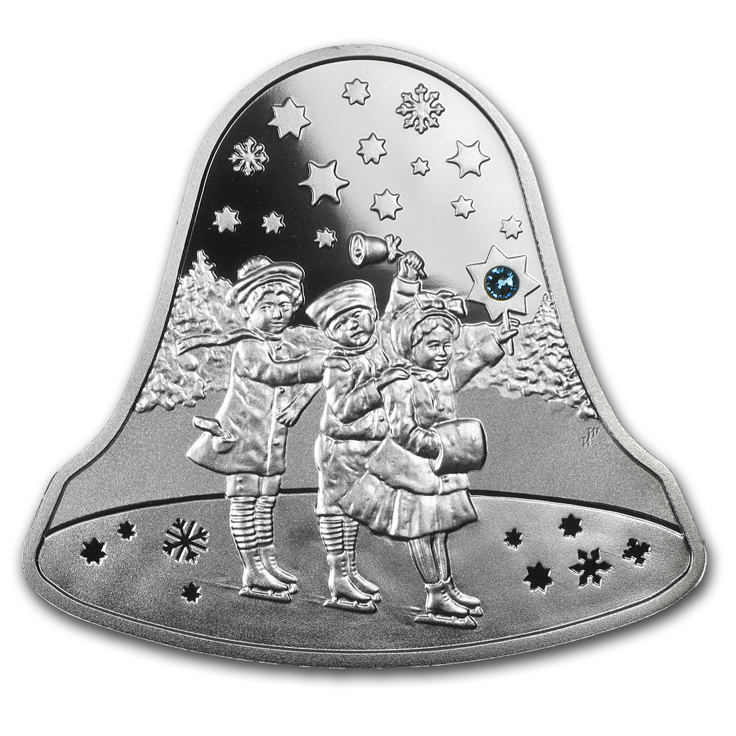 Niue 2012 Proof Silver $2 Christmas Bell with Swarovski Crystal