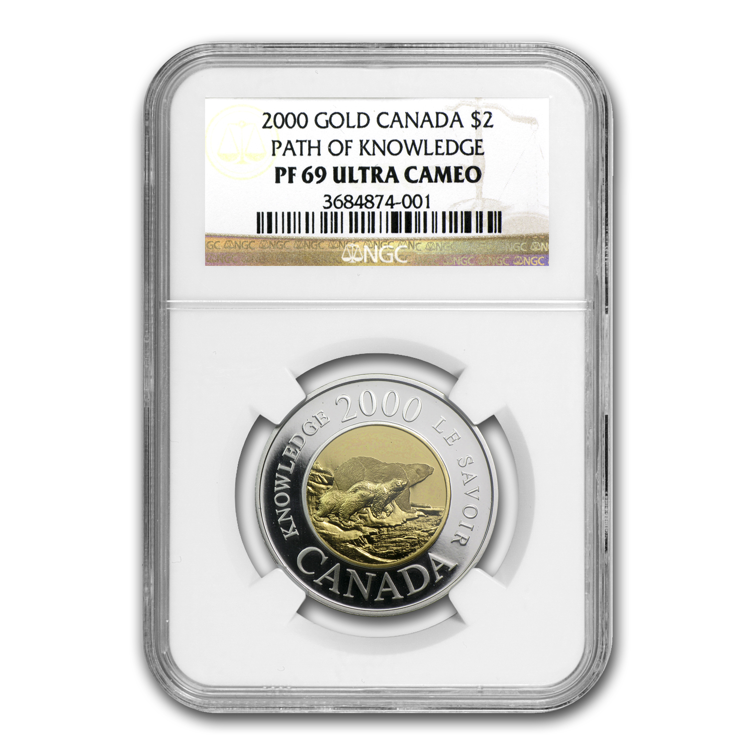 2000 Path of Knowledge Canadian $2 Bimetal Proof NGC PF-69 UCAM
