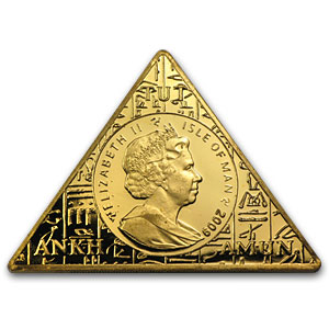 Isle of Man 1 oz Gold Triangle Coin King Tut (Imperfect)