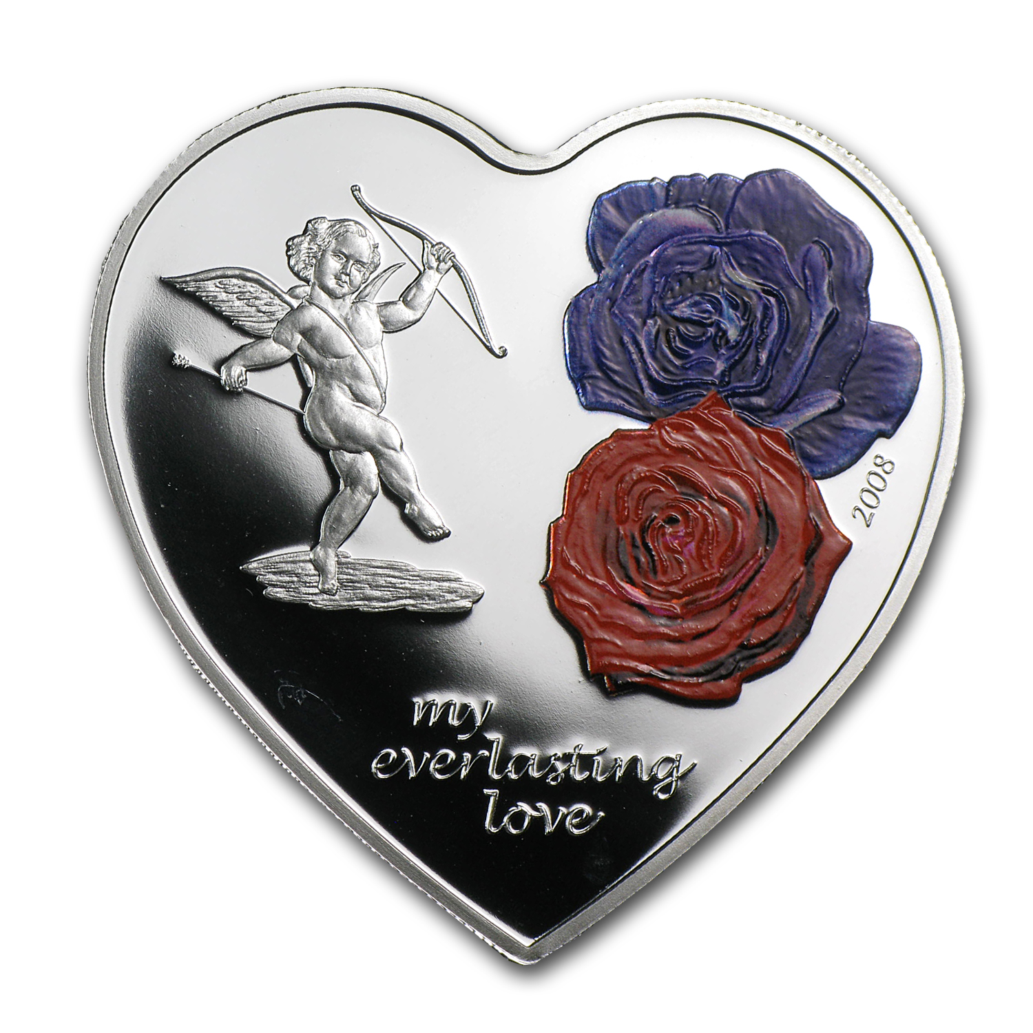 2008 Cook Islands Proof Silver $5 Everlasting Love Heart Coin