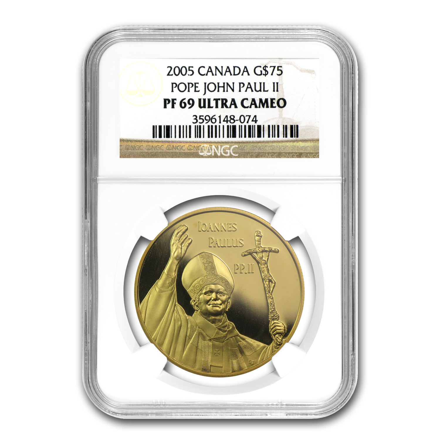 2005 Gold Canadian $75 Pope John Paul II NGC PF-69 UCAM