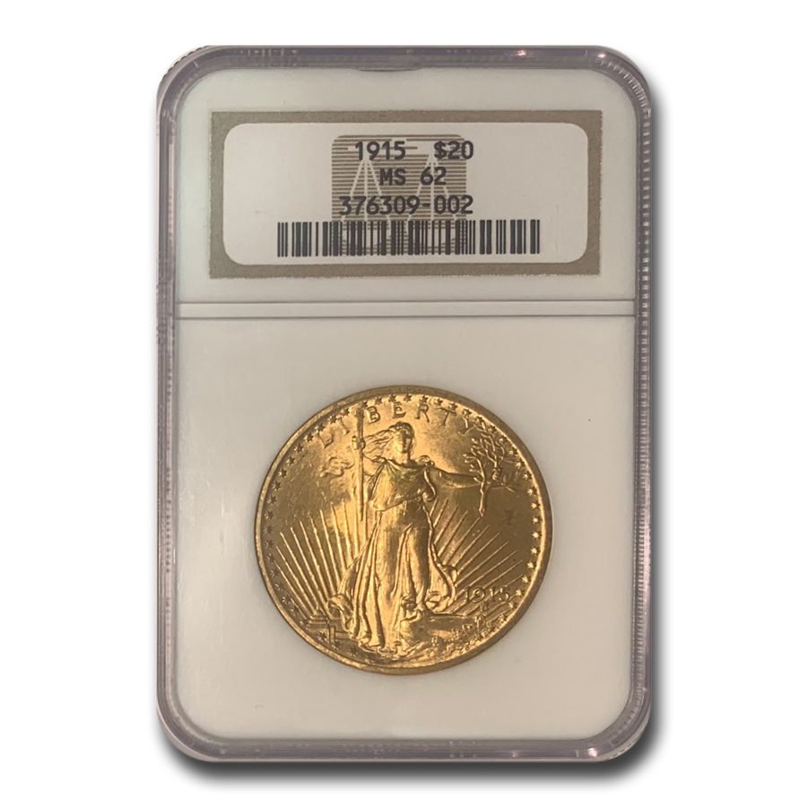 1915 $20 St. Gaudens Gold Double Eagle MS-62 NGC