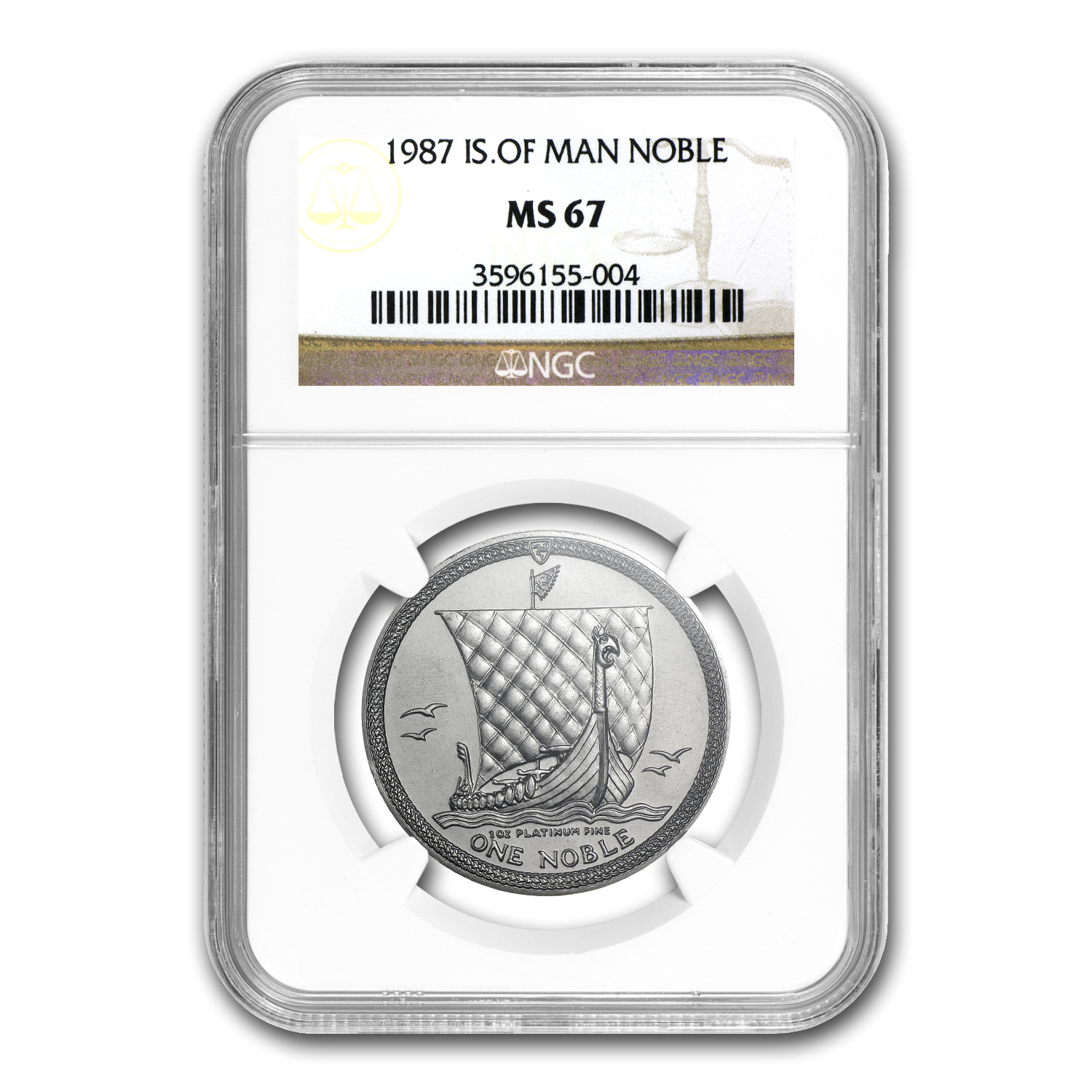 1987 Isle of Man 1 oz Platinum Noble MS-67 NGC