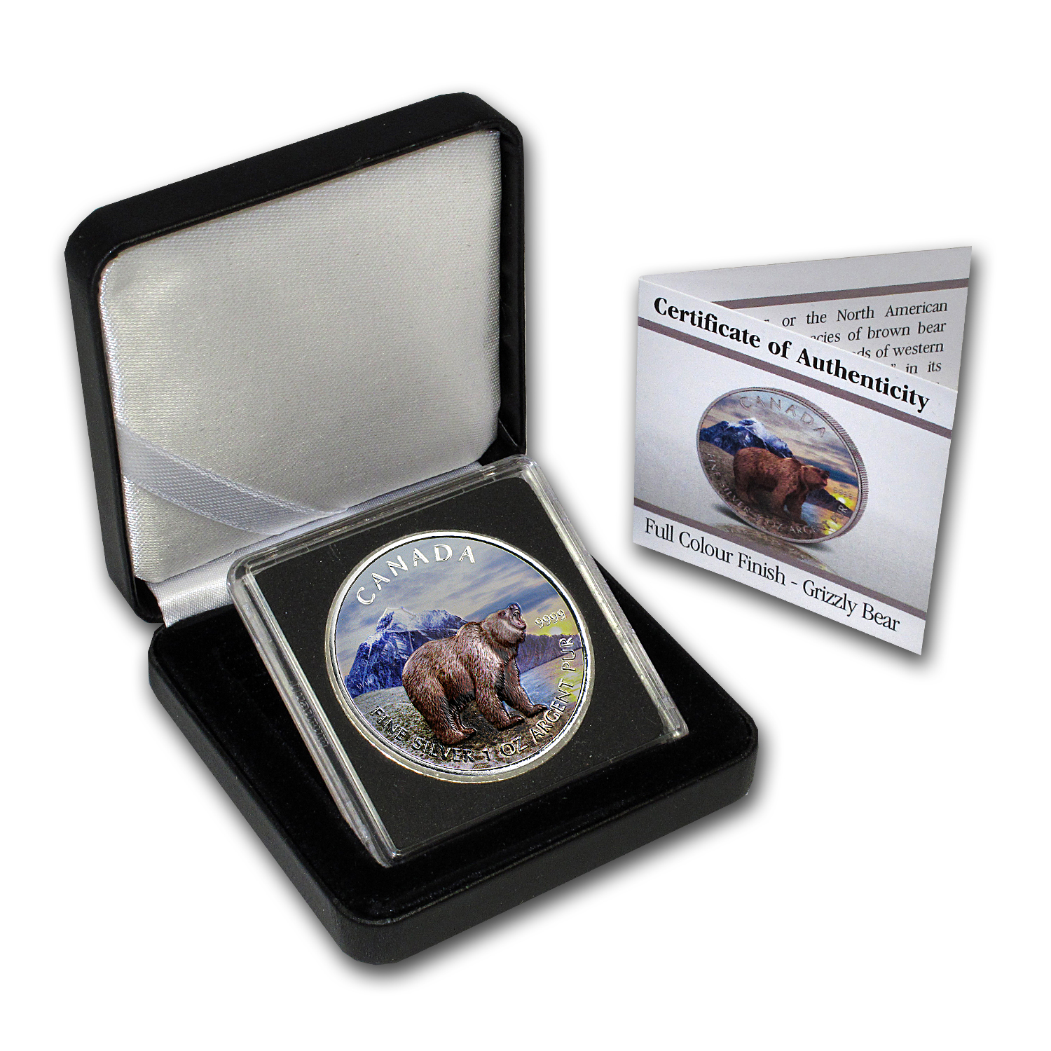 2011 Canada 1 oz Silver Wildlife Series Grizzly (Full Colour)