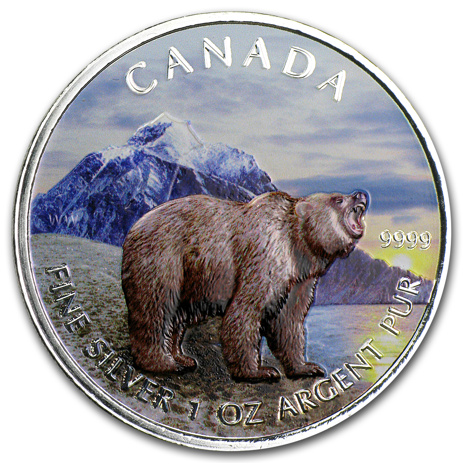2011 1 oz Silver Canadian Wildlife Series Grizzly (Full Colour)