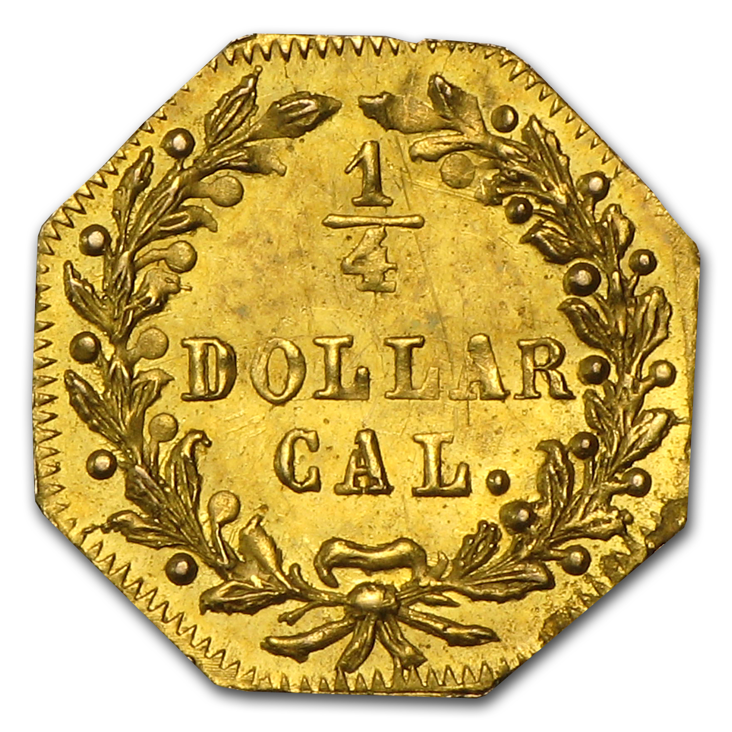 1872 BG-791 Indian Octagonal 25 cent Gold AU-58