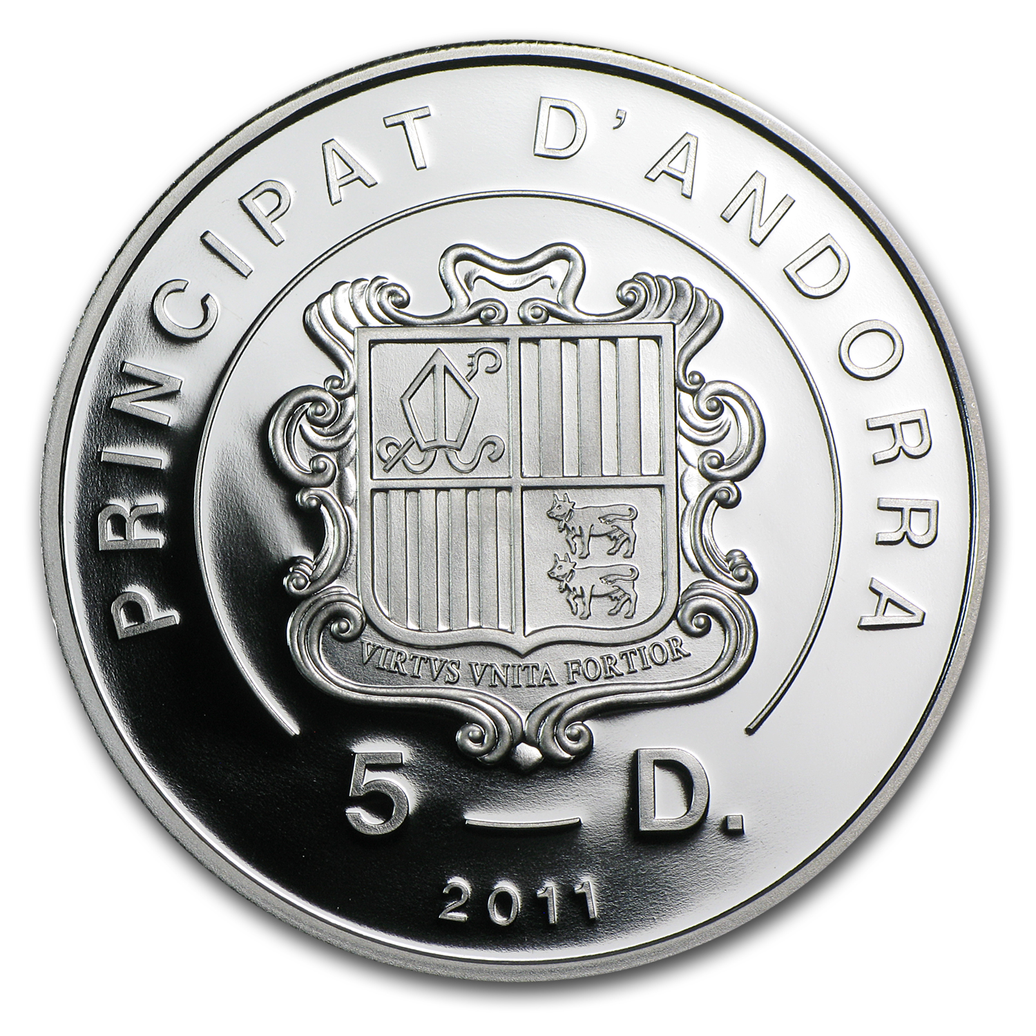 2011 Andorra Proof Silver 5 Diners Beatification of John Paul II
