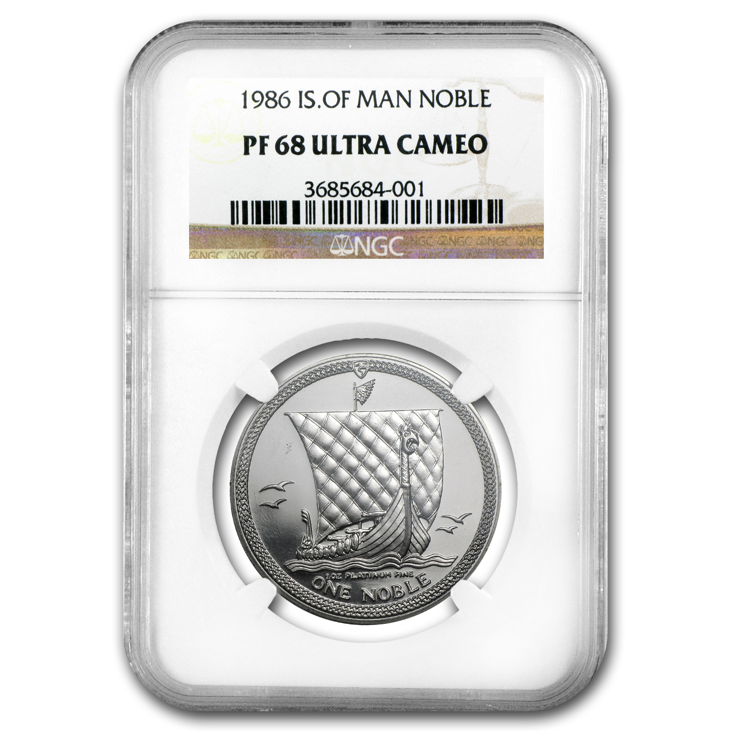 1986 Isle of Man 1 oz Platinum Noble PF-68 NGC