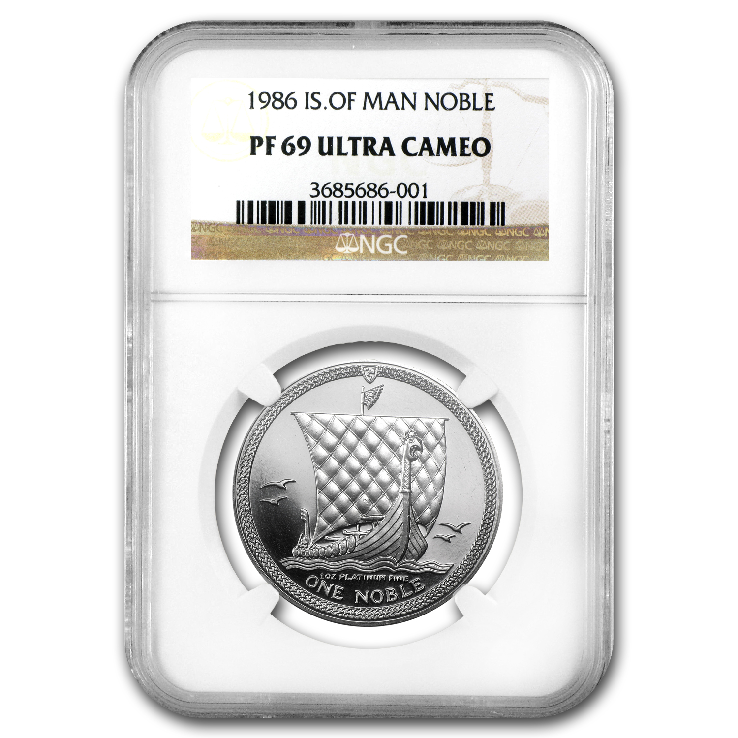 1986 1 oz Isle of Man Platinum Noble PF-69 NGC