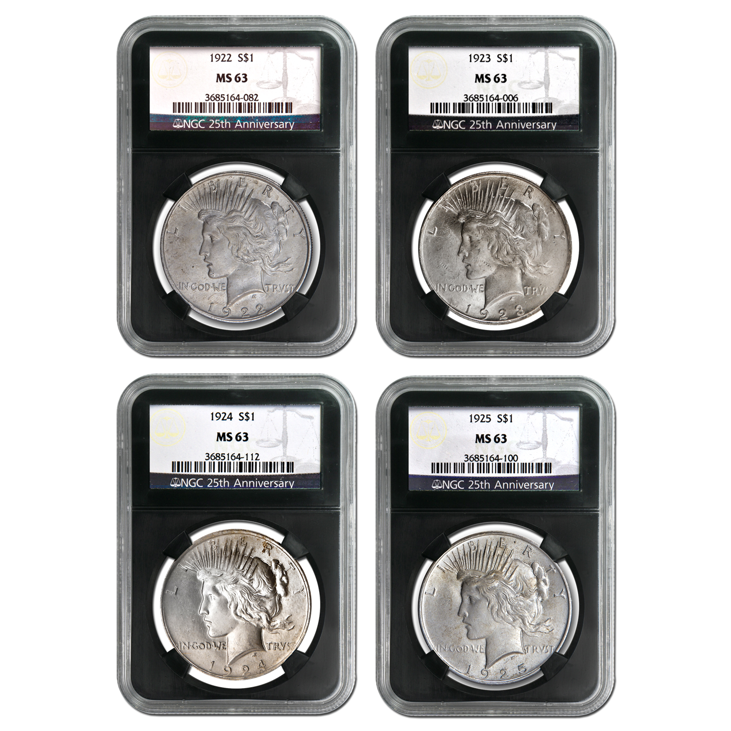 1922-1925 4-Coin Peace Dollar Set MS-63 NGC (25th Anniv)