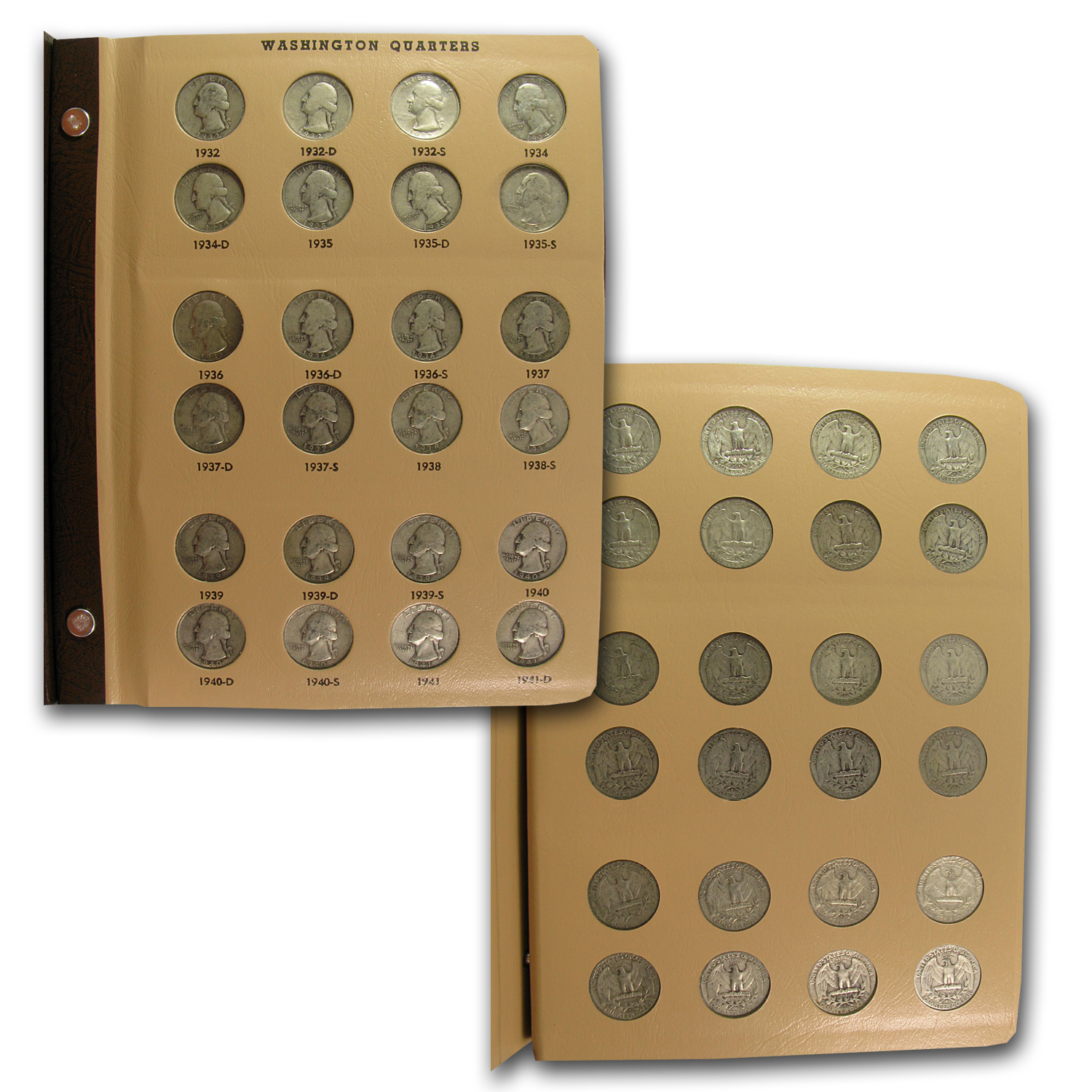 1932-1964 P,D,S Washington Quarters Set Avg. Circ. (In Dansco)