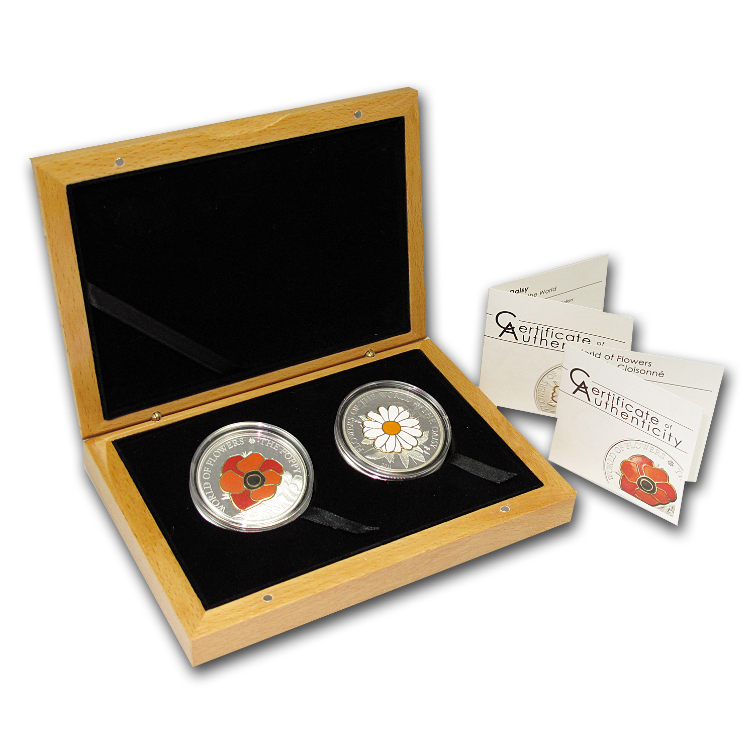 Cook Islands 2-Coin Silver World of Flowers Daisy & Poppy Set
