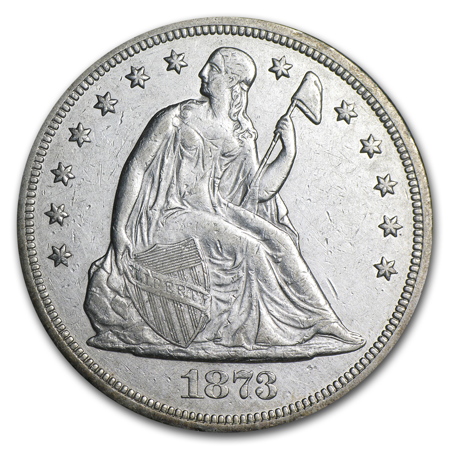 1873 Liberty Seated Dollar AU Details (Cleaned)