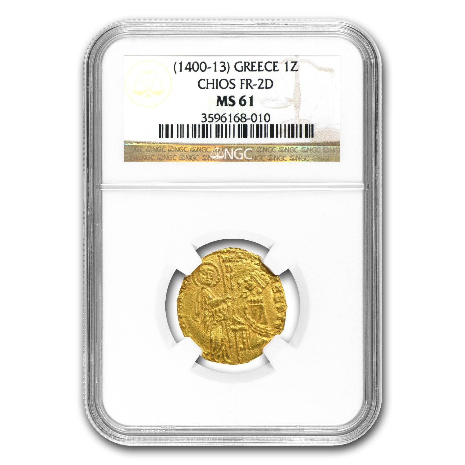 Greece Chios Gold Zecchino MS-61 NGC (1400-1413 AD)