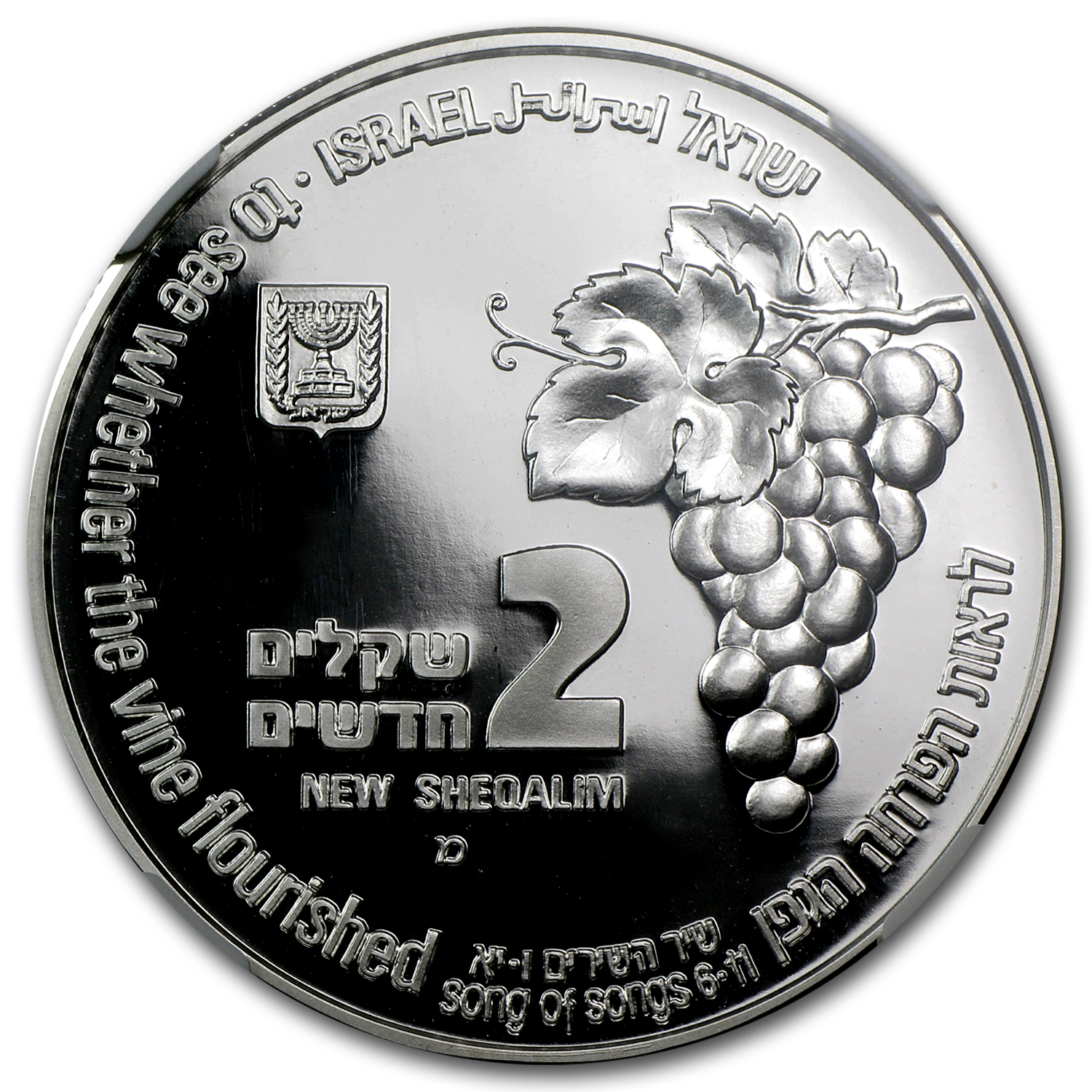 1995 Israel Silver 2 NIS Fox & Vineyard PF-69 NGC