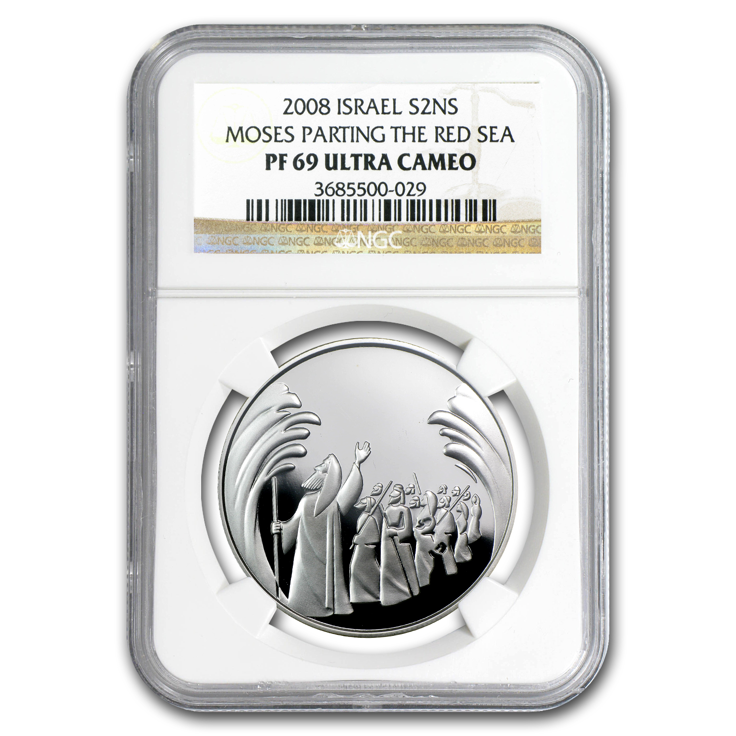 2008 Israel Silver 2 NIS Parting of the Sea PF-69 NGC